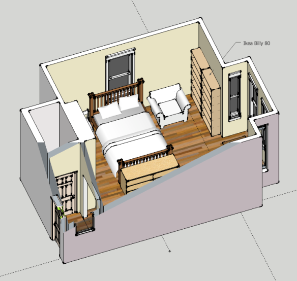 room planning 3d modeling with google sketchup. Black Bedroom Furniture Sets. Home Design Ideas