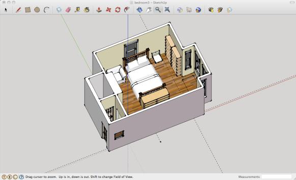 room planning 3d modeling with google sketchup. Black Bedroom Furniture Sets. Home Design Ideas